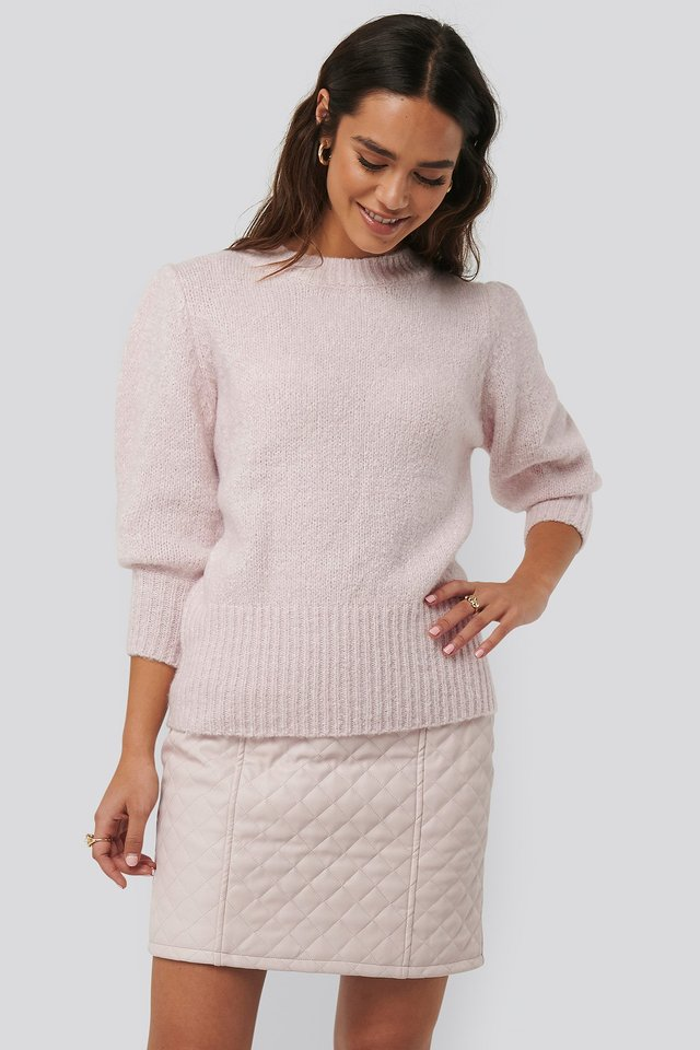 Quilted PU Skirt Light Pink