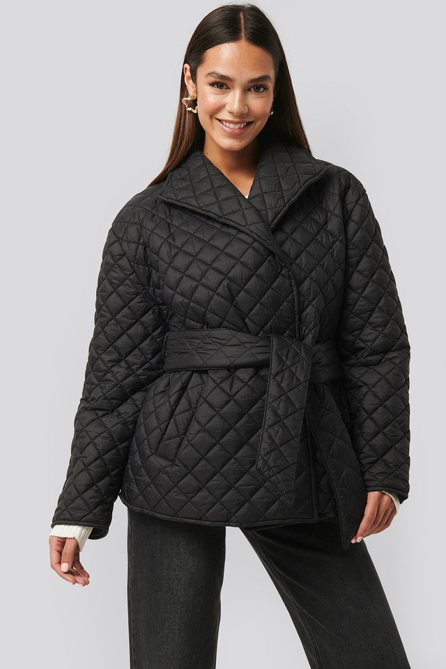 Quilted Short Jacket Black
