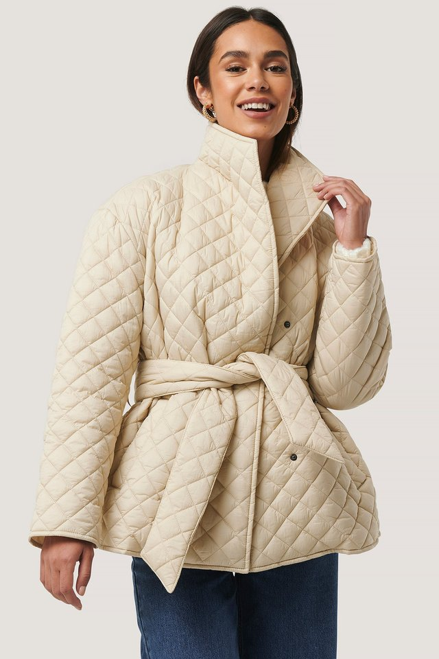 Beige Quilted Short Jacket