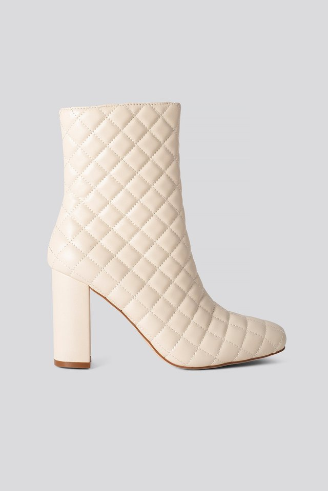 Quilted Squared Toe Boots Nude