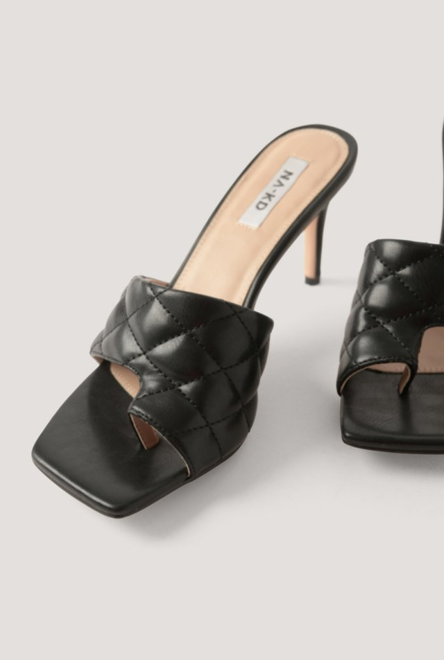 Quilted Toe Ring Mules Black
