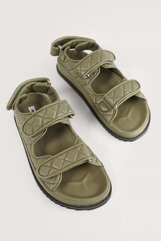 Khaki Quilted Velcro Sandal