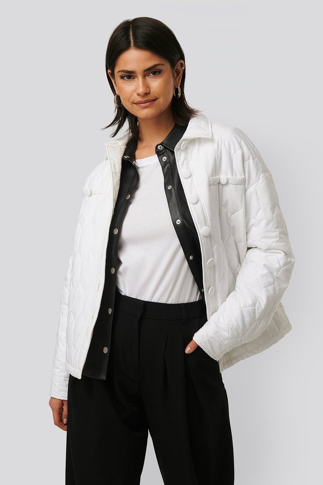 Quilted Buttoned Jacket White