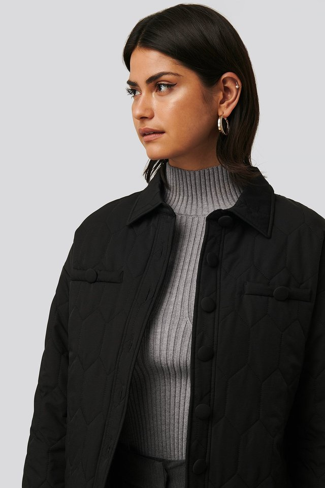 Quilted Buttoned Jacket Black