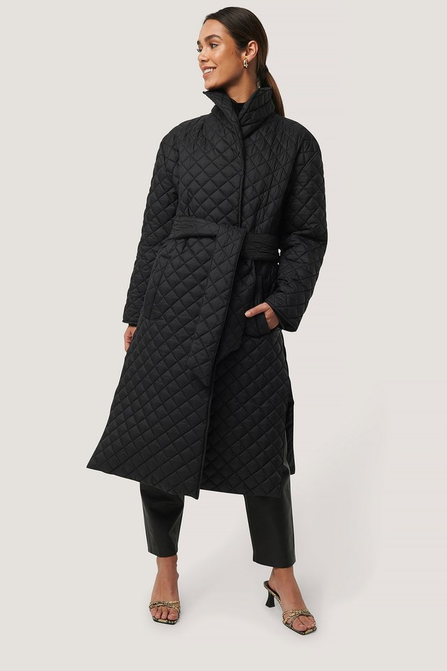 Quilted Long Jacket Black