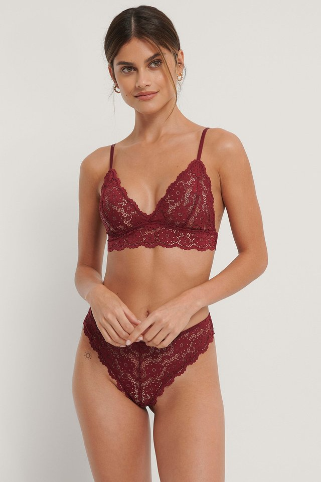 Qute Lace Thong Burgundy