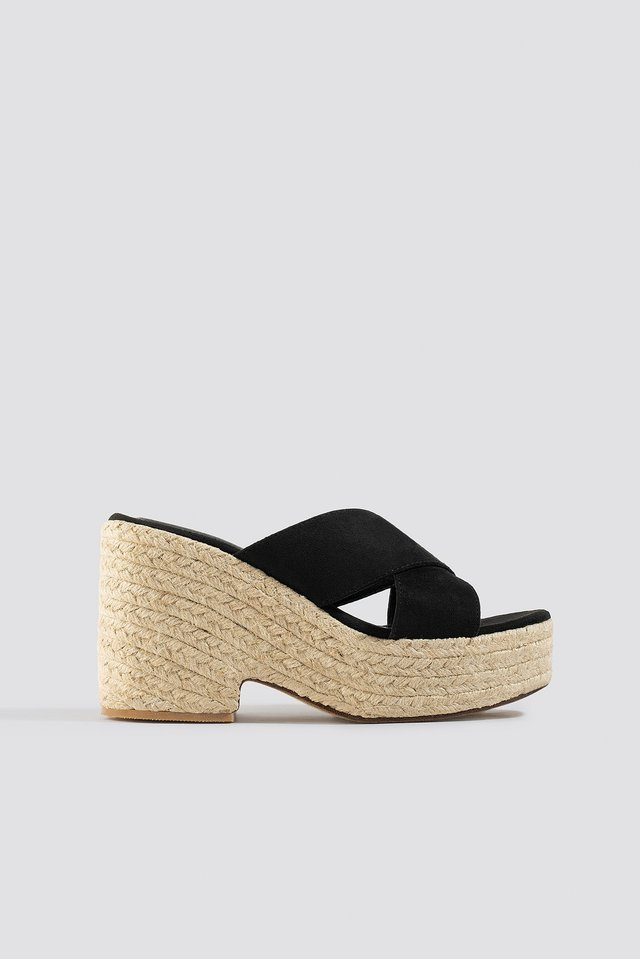 Black Raffia Block Heel Sandals