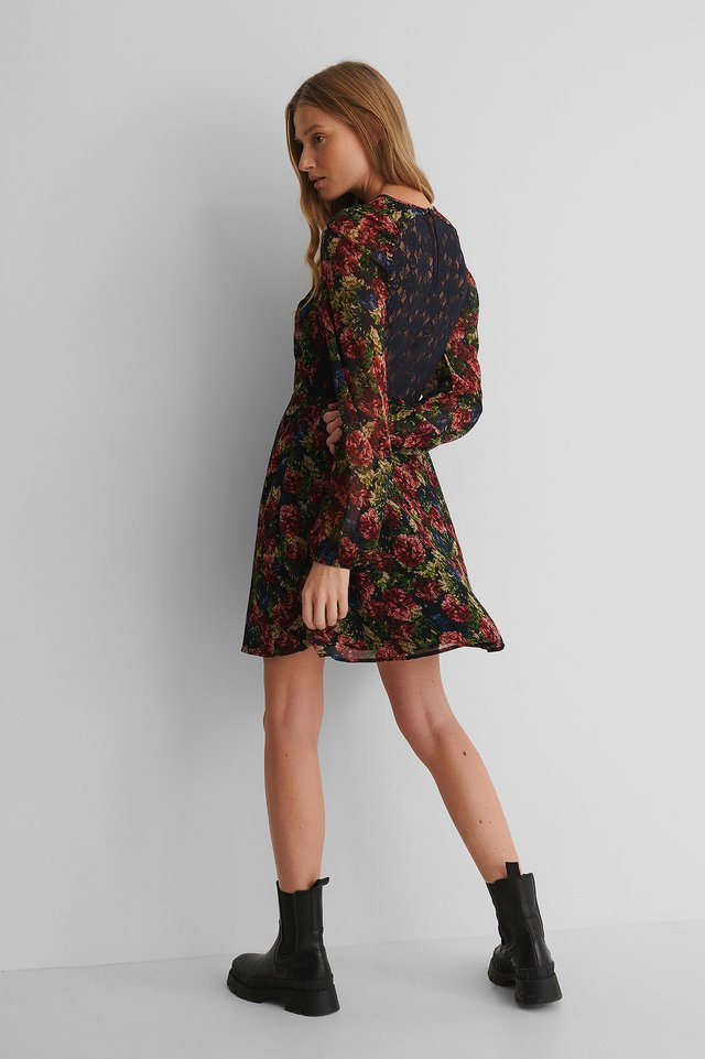 Raglan Shoulder Flowy Dress Flower