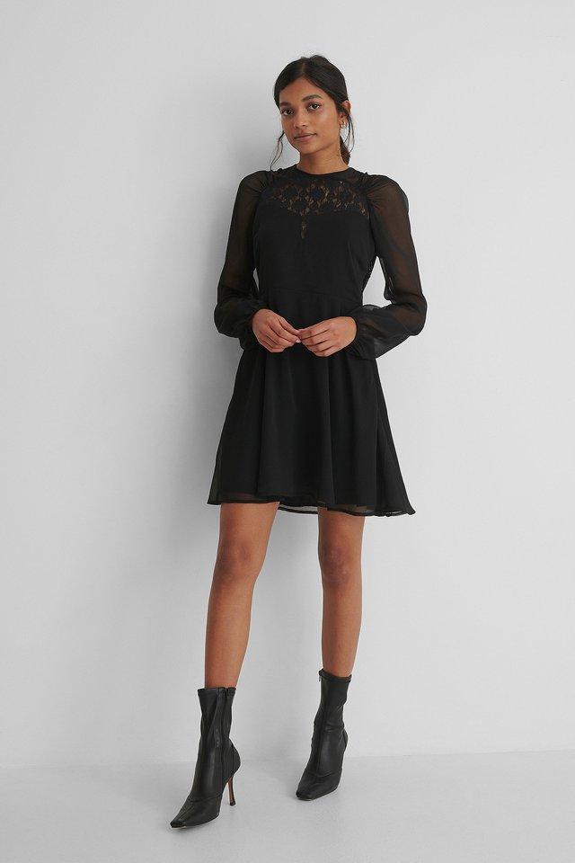 Raglan Shoulder Flowy Dress Black