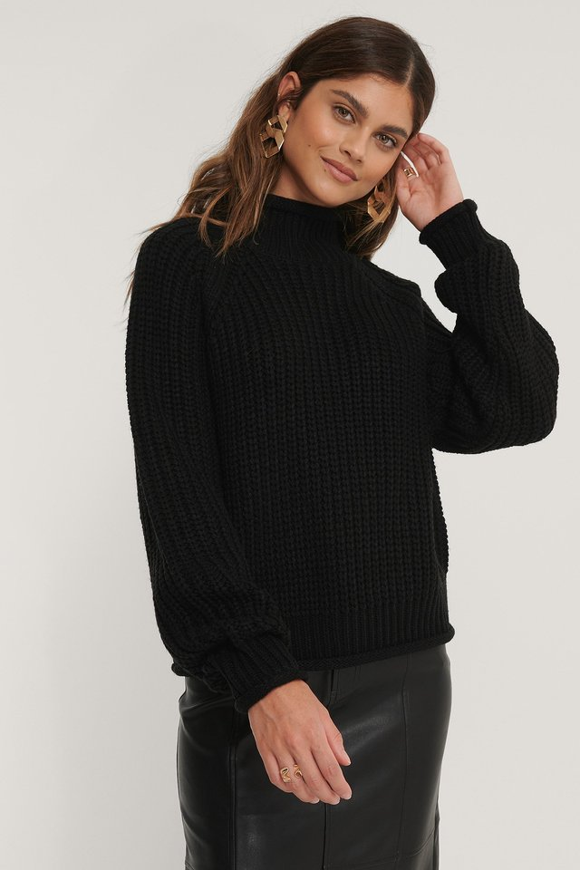 Black Raglan Sleeve High Neck Knitted Sweater