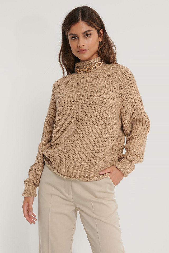Raglan Sleeve High Neck Knitted Sweater Beige