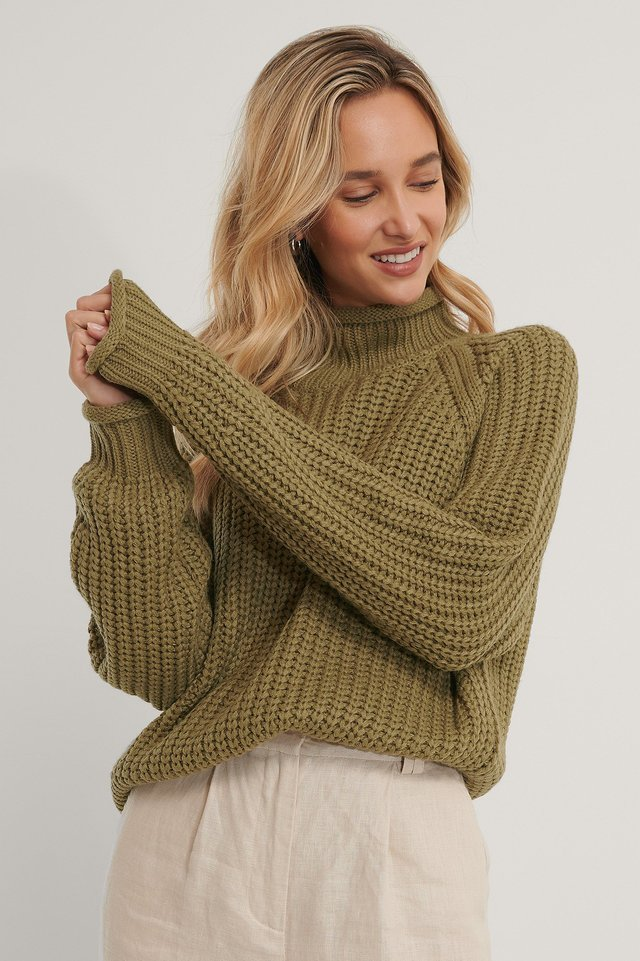 Raglan Sleeve High Neck Knitted Sweater Khaki