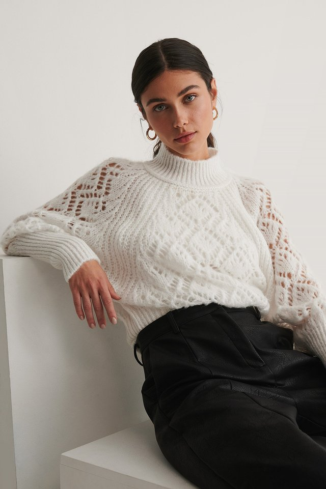 Raglan Sleeve Pointelle Stitch Knitted Sweater White