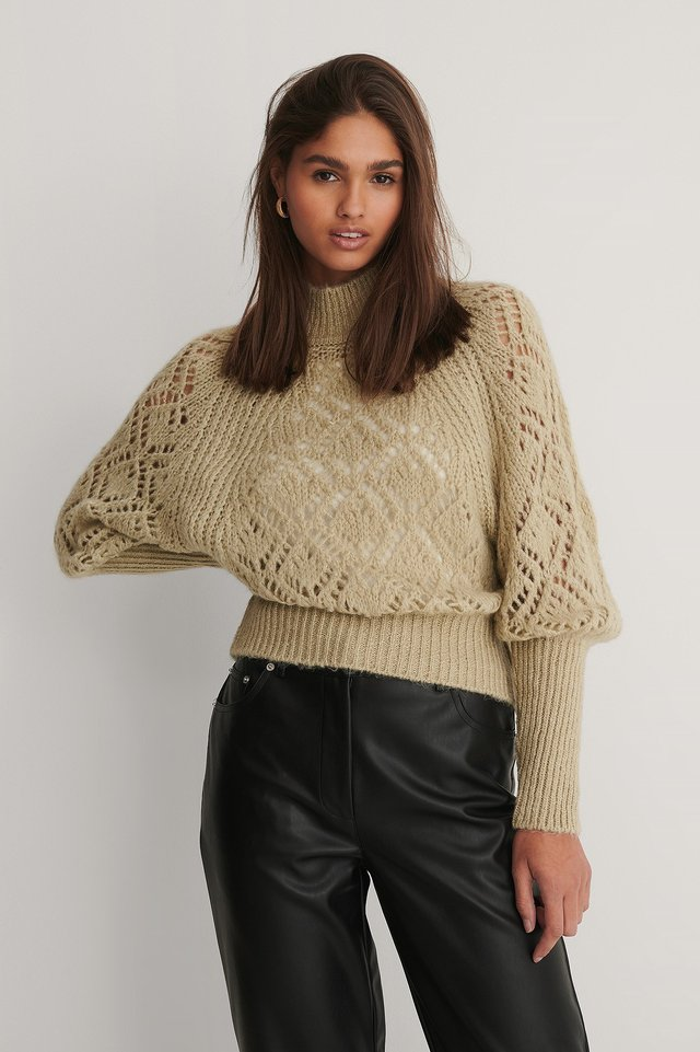 Raglan Sleeve Pointelle Stitch Knitted Sweater Beige