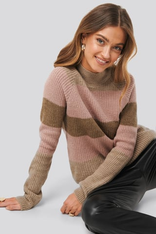 Beige Raglan Sleeve Striped Knitted Sweater