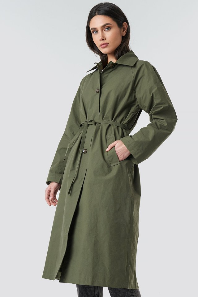 Raglan Sleeve Trench Green