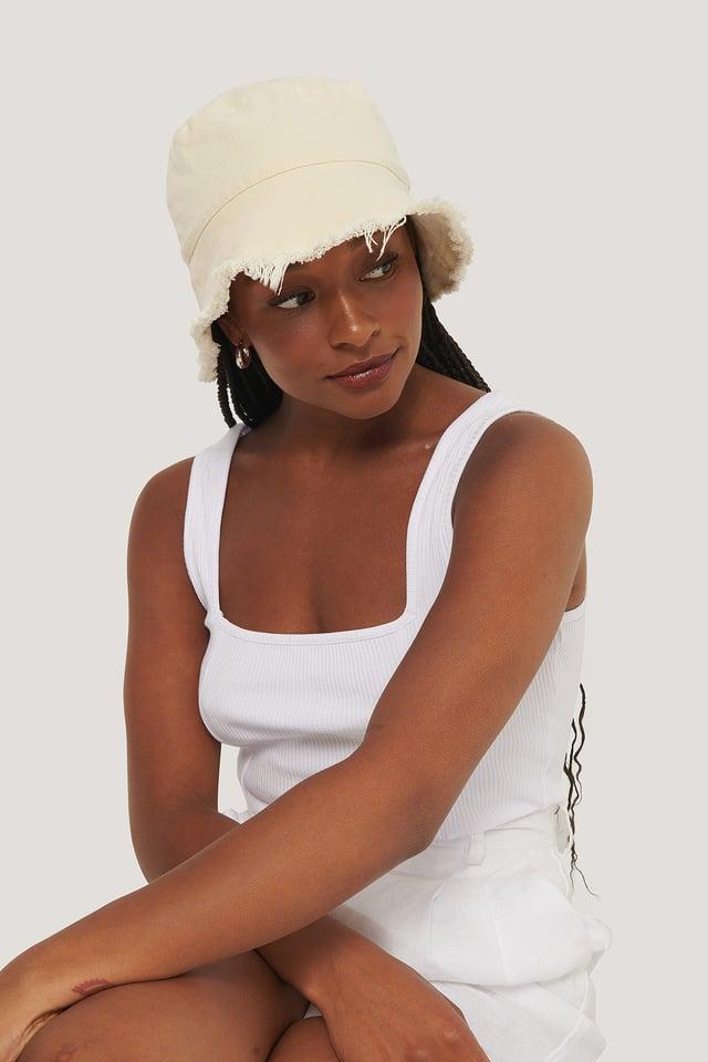 Raw Edge Bucket Hat Vanilla