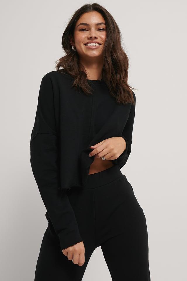 Black Organic Raw Edge Cropped Sweater