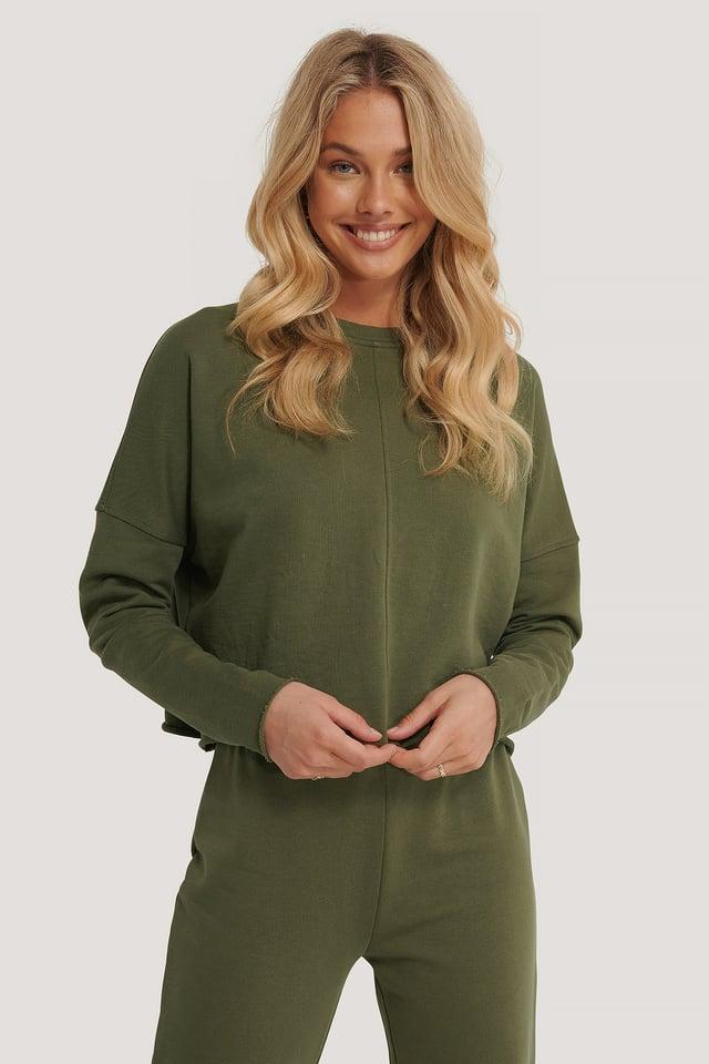 Khaki Organic Raw Edge Cropped Sweater