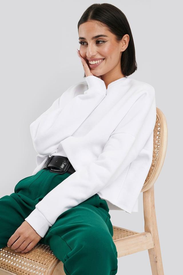 Raw Edge Sweater White