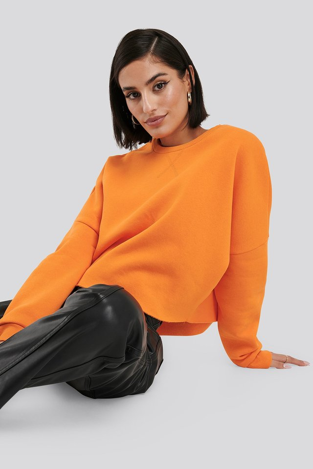 Raw Edge Sweater Orange
