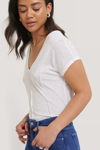 White Transparante Top Met V-Hals