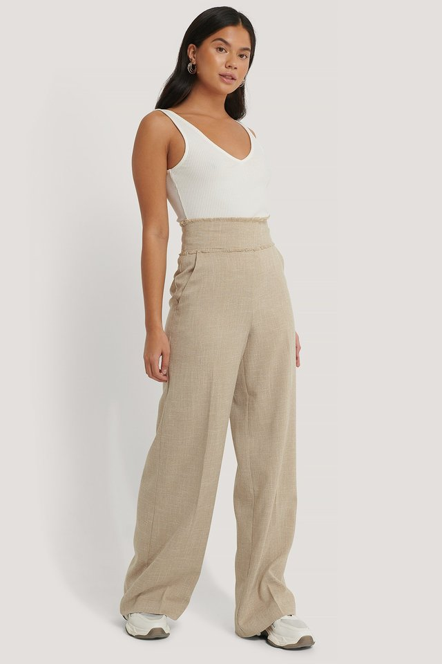 Raw Edge Wide Leg Suit Pants Beige