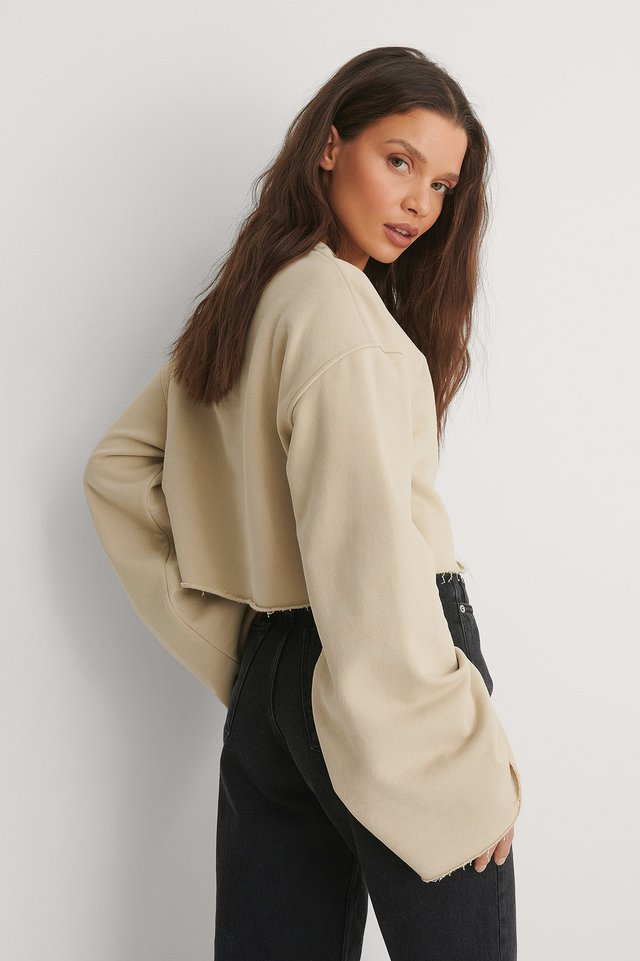 Beige Organic Raw Edge Wide Sleeve Sweatshirt