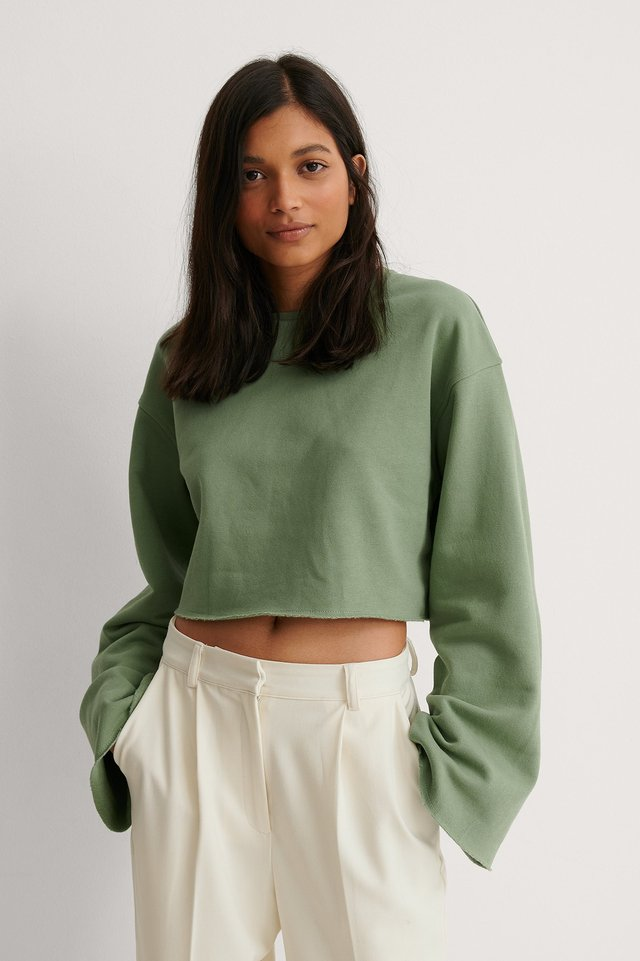 Green Organic Raw Edge Wide Sleeve Sweatshirt