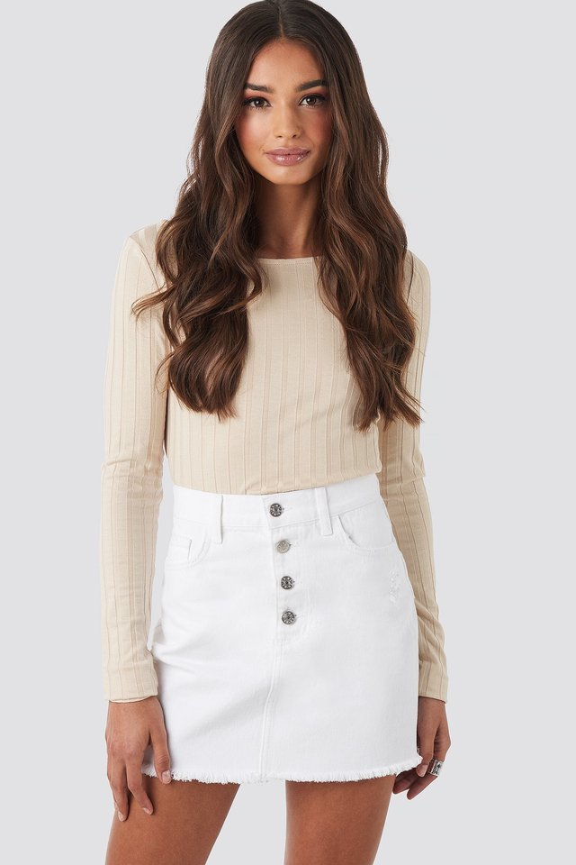 Raw Hem Button Up Mini Skirt White