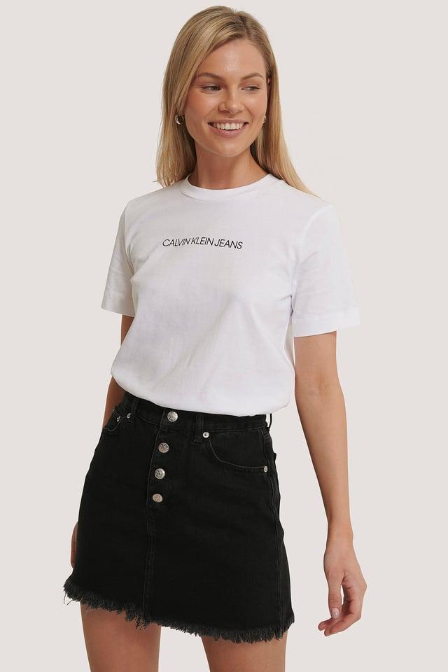 Raw Hem Button Up Mini Skirt Black
