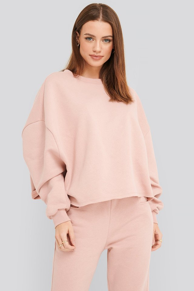 Raw Hem Cropped Sweatshirt Pink