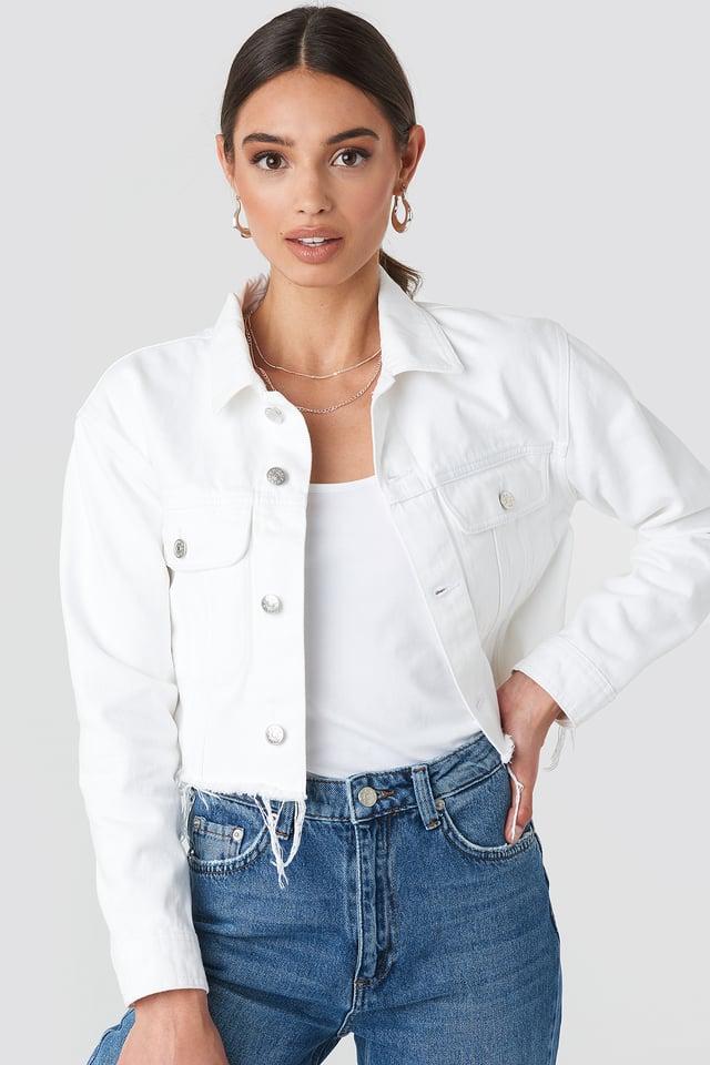 Raw Hem Denim Jacket White