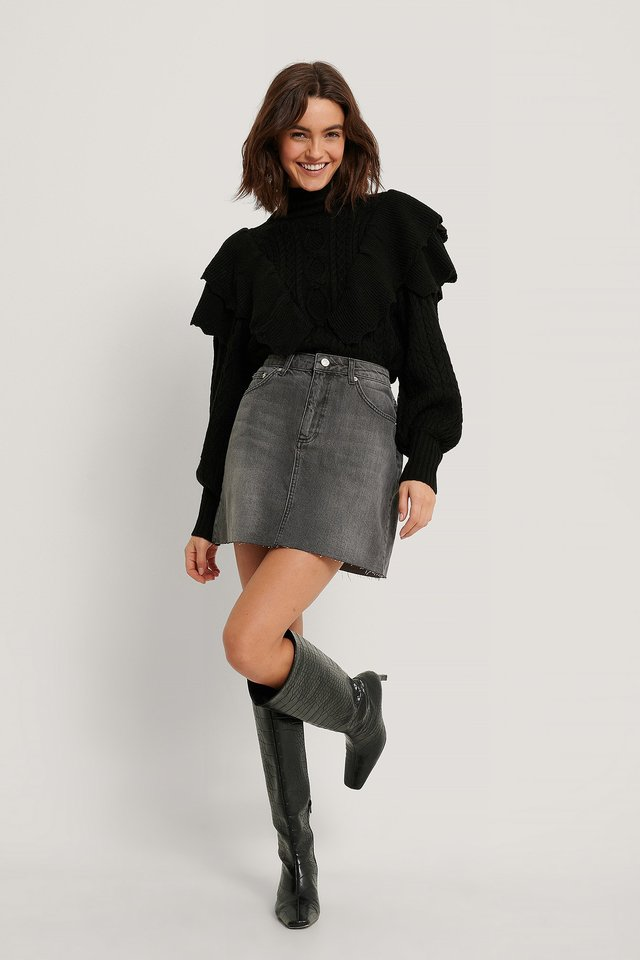 Grey Wash Raw Hem Denim Mini Skirt