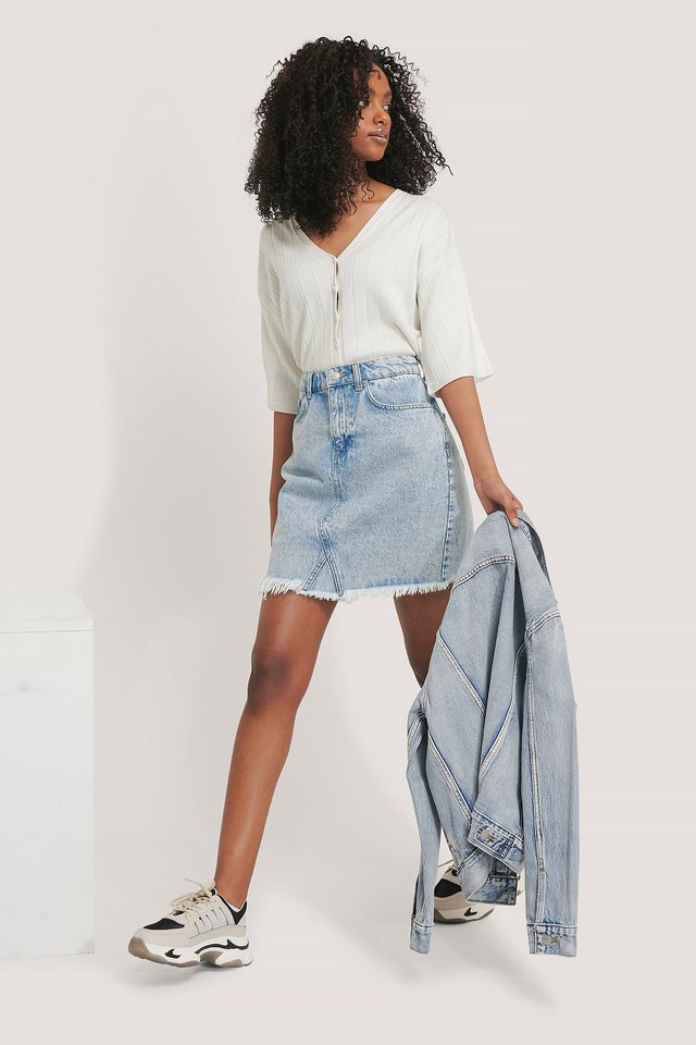 Light Blue Raw Hem Denim Skirt