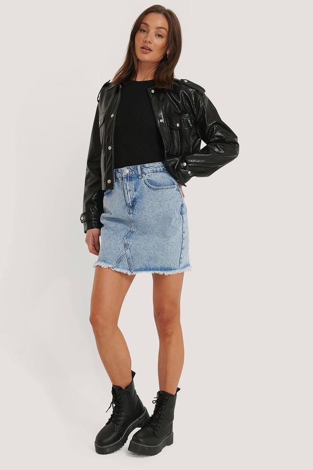 Raw Hem Denim Skirt Mid Blue