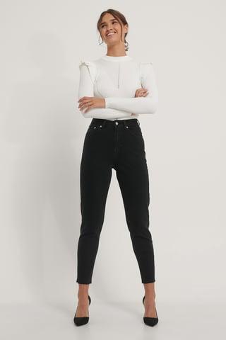 Black Mom Jeans Med Rå Kant