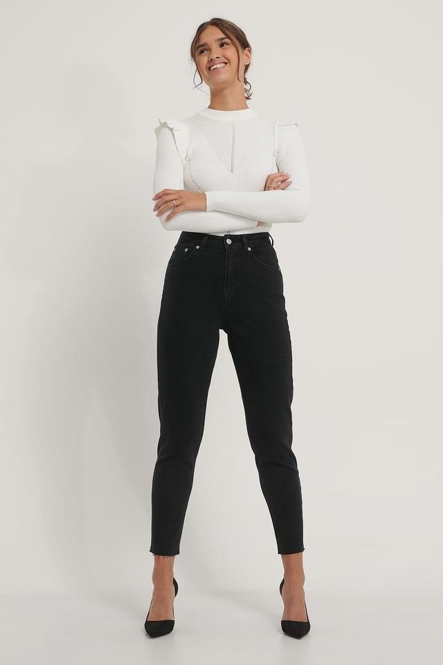 Raw Hem Mom Jeans Black