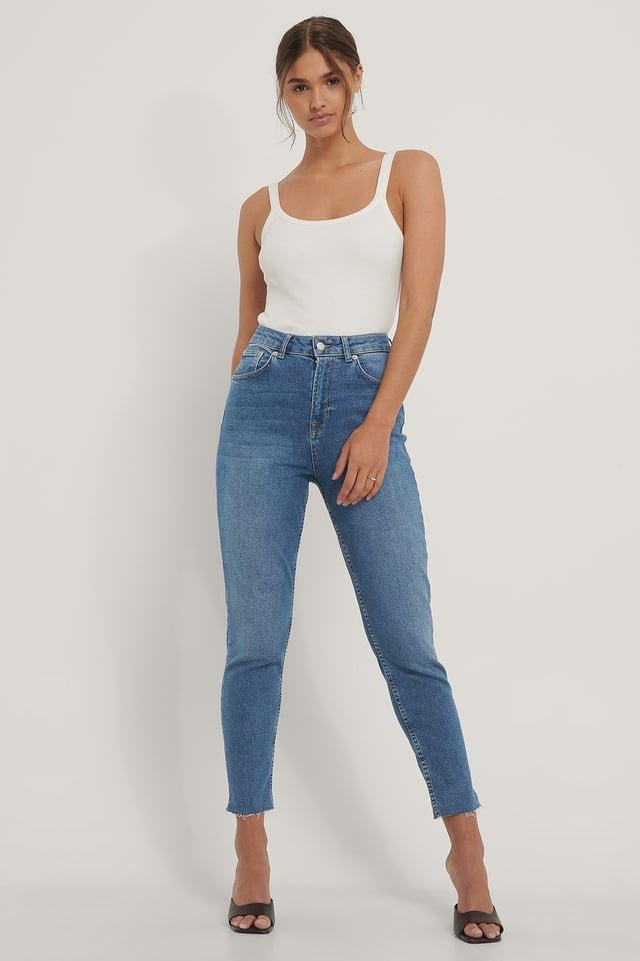 Mid Blue Raw Hem Mom Jeans