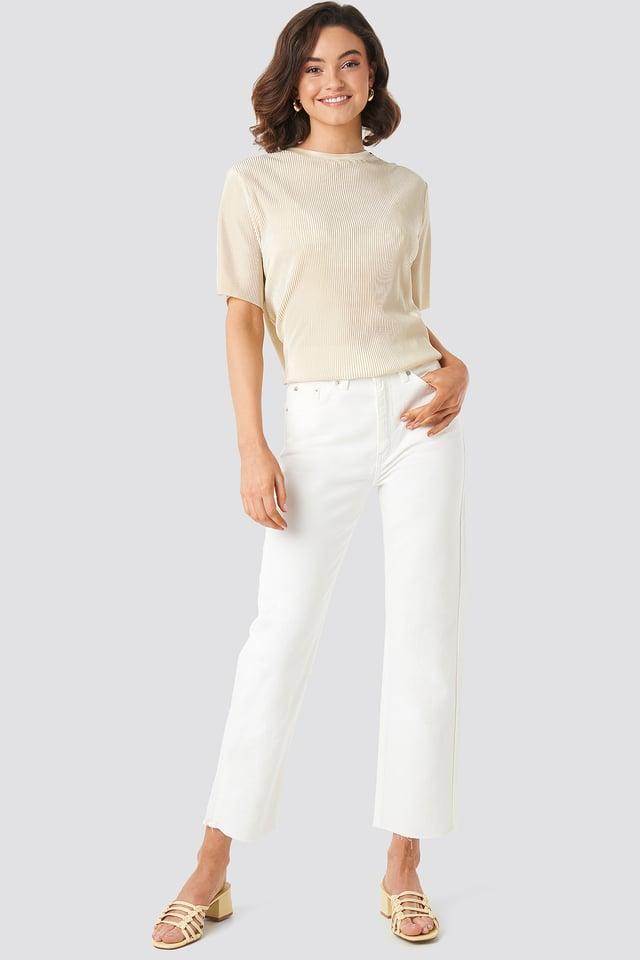 Offwhite Raw Hem Straight Jeans