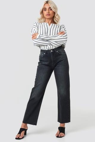 Black Raw Hem Straight Jeans