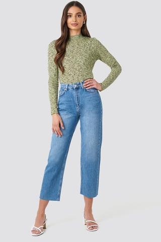 Light Blue Raw Hem Straight Jeans