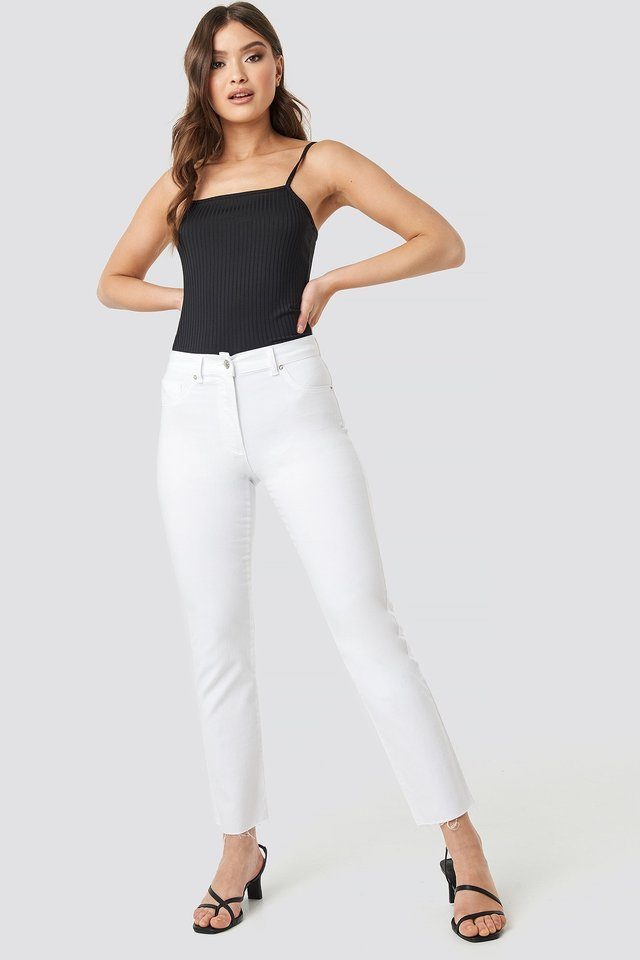 Raw Hem Straight Leg Jeans White