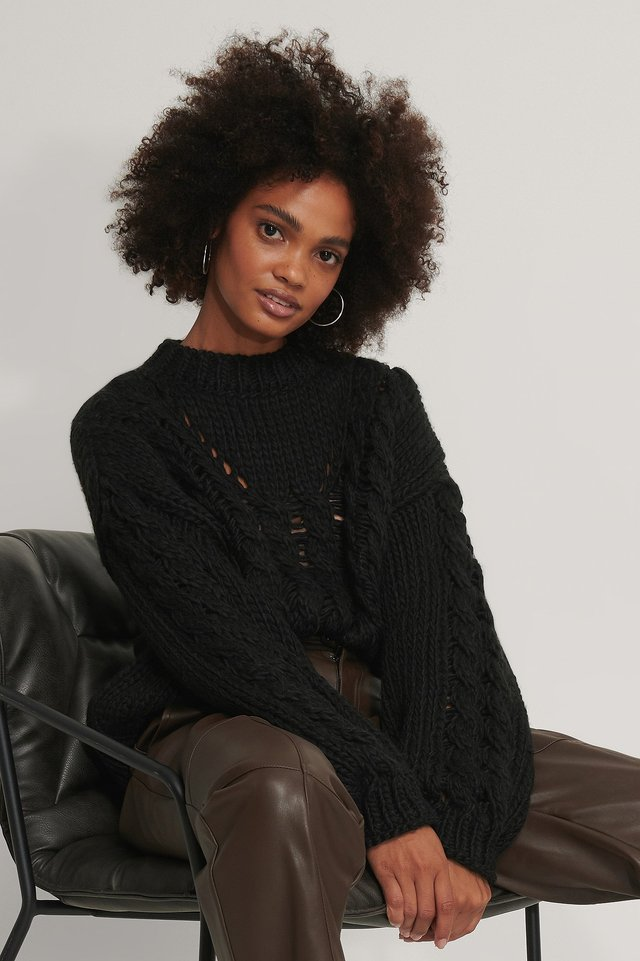 Raw Knit Polo Black