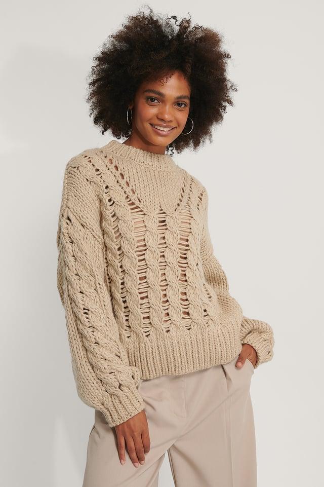 Raw Knit Polo Beige