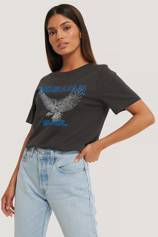 Orgánica Camiseta Estampada Rebellion Soul Eagle Grey