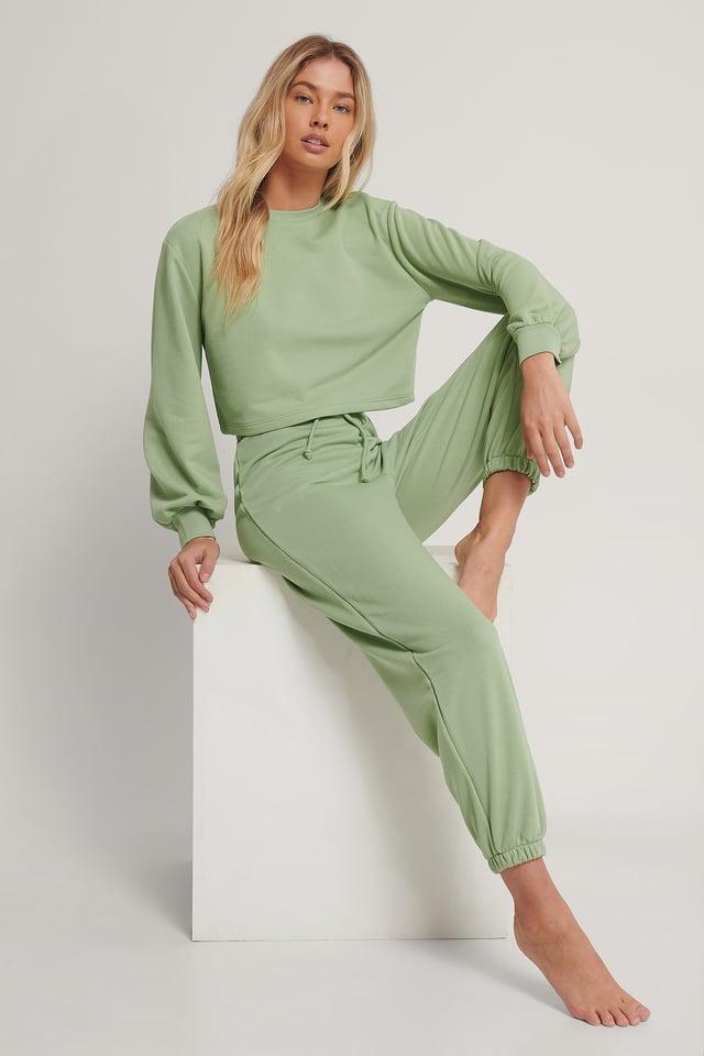 Drawstring Elastic Sweatpants Green