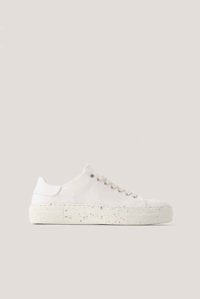 White Recycled Canvas Trainers