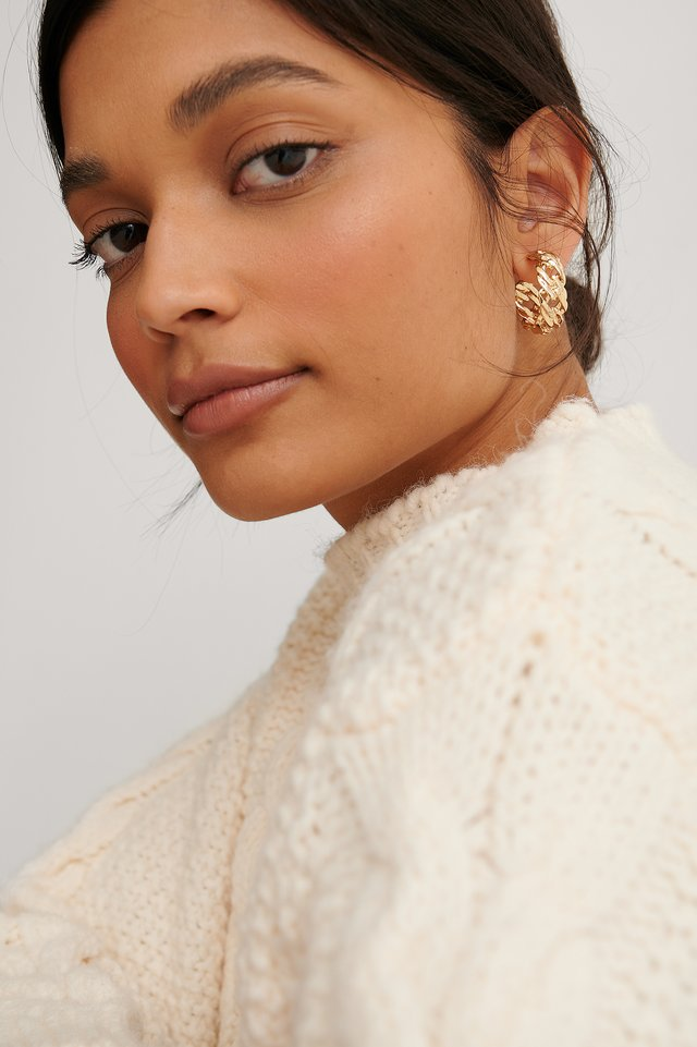 Gold Recycled Chain Look Hoops