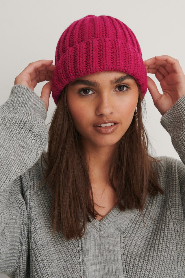 Hot Pink Recycled Chunky Beanie